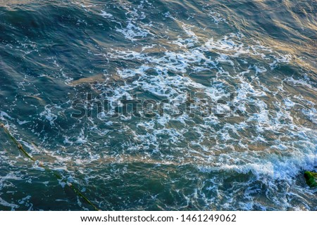 sea waves foam sea  top view. Beauty nature background. Vacation, summer. #1461249062