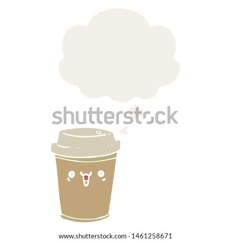 cartoon take out coffee with thought bubble in retro style #1461258671