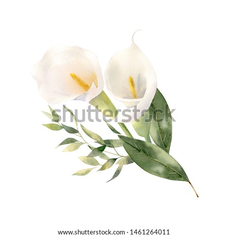 Beautiful handpainted watercolor floral arrangement. Bouquet of flowers - calla lilies decorated with eucalyptus and magnolia greenery. Perfect clipart for wedding invitation, greeting card, branding
