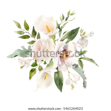 Bouquet of  watercolor flowers - calla lilies, roses, peonies, freesia decorated with trending greenery foliage. Perfect clipart for wedding invitation, greeting cards, logos, branding