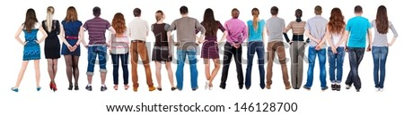 Back view group of people  looking. Rear view team people collection.  backside view of person.  Isolated over white background. #146128700