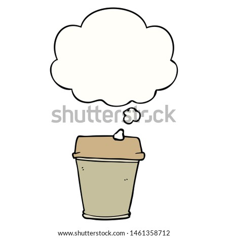 cartoon take out coffee with thought bubble #1461358712