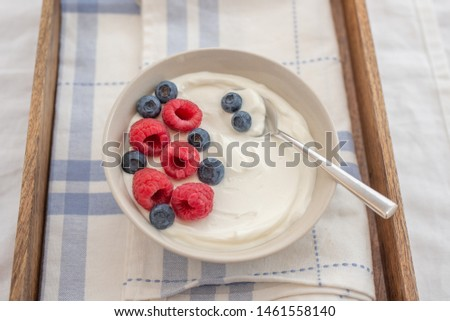 healhty greek Yogurt with fresh berries for breakfast #1461558140