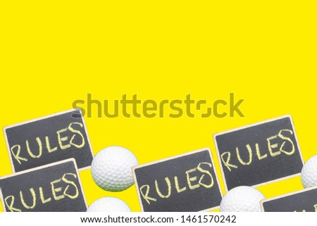 Rules of golf isolated on yellow background