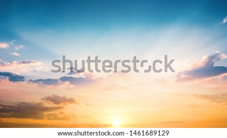 Beautiful sunset sky above clouds with dramatic light #1461689129