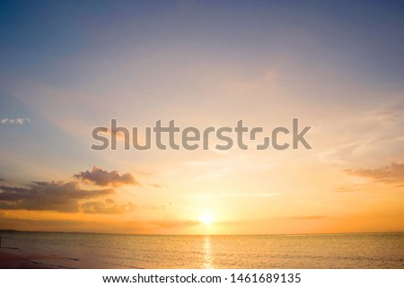 Beautiful sunset sky above clouds with dramatic light #1461689135