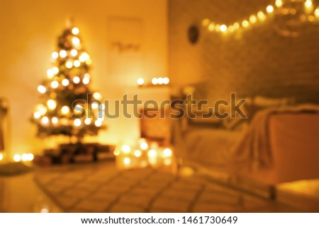 Beautiful interior of room decorated for Christmas, blurred view #1461730649