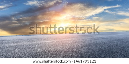 Asphalt highway and beautiful clouds landscape at sunset #1461793121