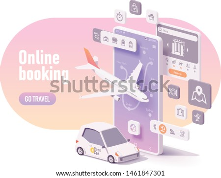 Vector online travel planning illustration, hotel booking or buying airline tickets, rental car reservation, trip planner app concept. Smartphone, airplane, car for hire #1461847301