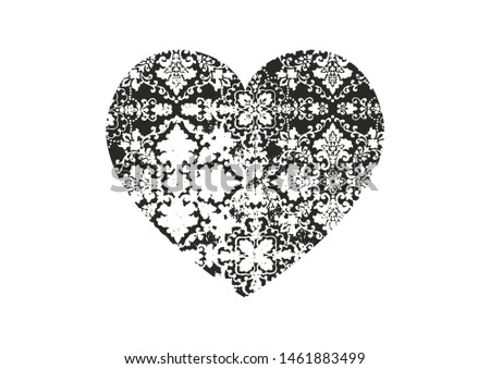 Isolated distress grunge heart with floor tiles texture. Element for greeting card, Valentine s Day, wedding. Creative concept. Vector illustration #1461883499