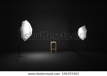 Dark room studio and wood chair 3D rendering