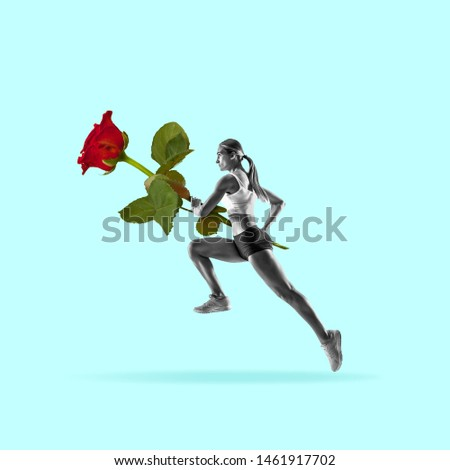 Celebrating mood. Female pole vaulter with the big rose on blue background. Negative space to insert your text. Modern design. Contemporary art. Creative conceptual and colorful collage. #1461917702