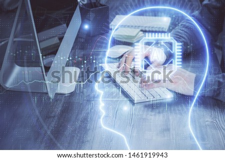 Man typing on keyboard background with brain hologram. Concept of big Data. Double exposure. #1461919943