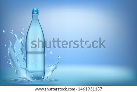 water splashes from plastic water bottle,  with ripple and reflection. #1461931157