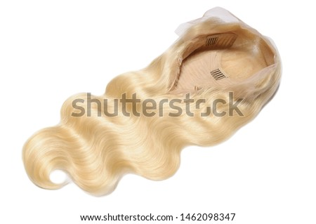 Body wave wavy bleached golden blonde human hair weaves extensions lace wigs Royalty-Free Stock Photo #1462098347