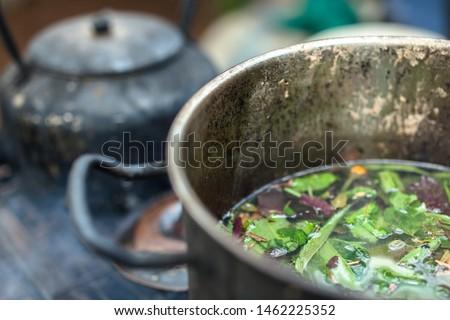 Brewing sacred ayahuasca medicine amazon #1462225352