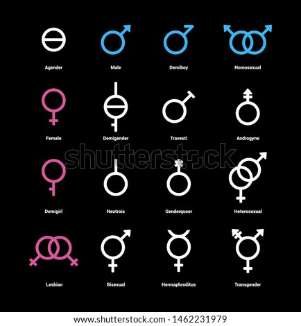 Gender flat color icons set. Sexual orientation concept. Signs for web page, mobile app, banner, social media, button, logo. Pictograms user interface. Vector clipart illustration. #1462231979