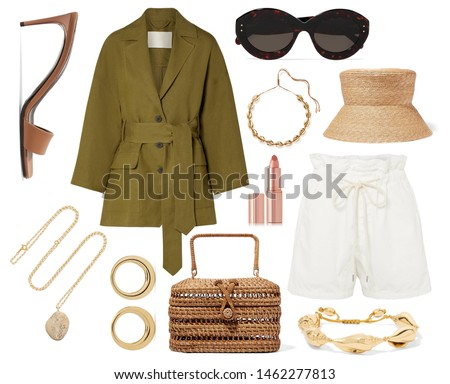 mood board fashion clothes, outfit, clothes collage, set of fashionable clothes and accesories, woman trendy fashion clothes collage on white, flat lay, top view #1462277813