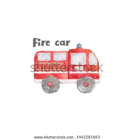 Fire truck Watercolor cute set of fire engine cartoon colorful illustration on white background. Red rescue color. Baby clip art isolated kit, axe, fire, hydrant and house. Hand drawn clip art
