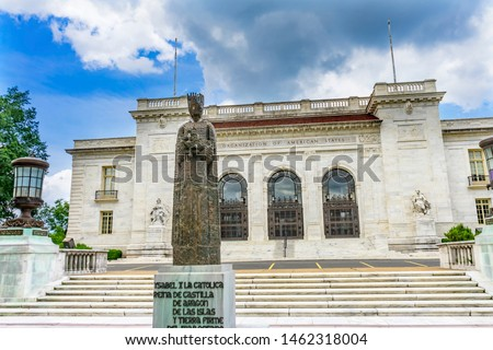 Organization American States Headquarters OAS Washington DC. countries in Americas, Central America, South America founded 1948. Queen Isabella statue given to OAS 1966 by Spain, Artist Jose Sanchez #1462318004