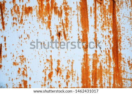 Rusted white painted metal wall. Rusty metal background with streaks of rust. Rust stains. Rust texture. #1462431017