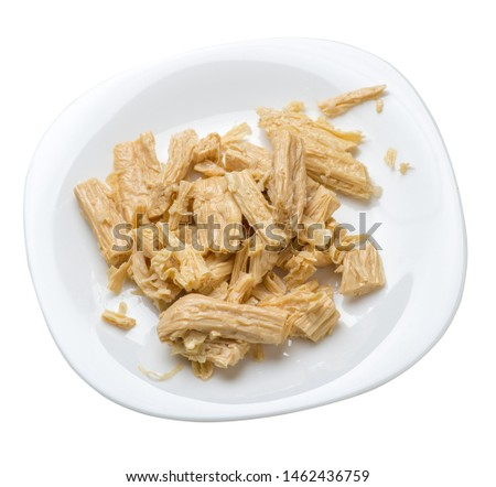 soy asparagus noodles on a white  plate, isolated on a white background. healthy food . Asian food. soy asparagus noodles top side view. #1462436759