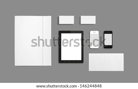 Blank Stationery Corporate ID Template isolated on grey. Consist of Business cards, Folder, Tablet PC, envelopes and smart phones. #146244848