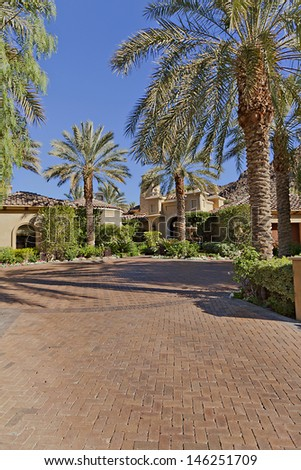 Entrance to a beautiful Californian home exterior #146251709