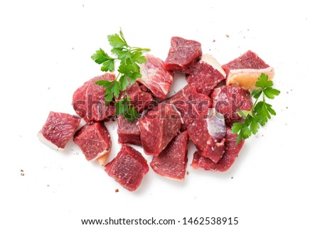 Raw chopped beef meat with spices. isolated on white background #1462538915