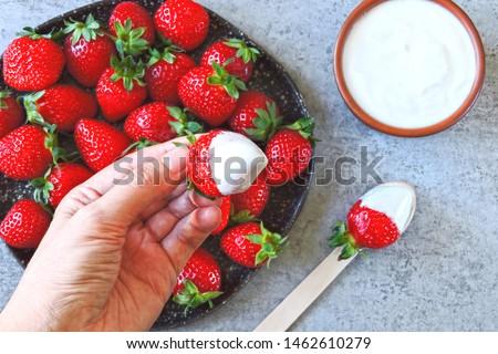Strawberries with cream. Keto dessert Keto diet. Keto snack. #1462610279