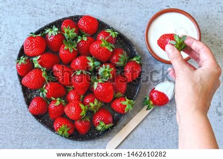 Strawberries with cream. Keto dessert Keto diet. Keto snack. #1462610282