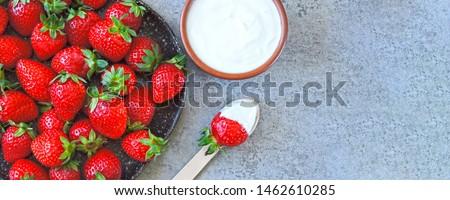Strawberries with cream. Keto dessert Keto diet. Keto snack. #1462610285