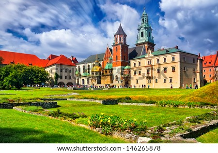 historic castle in the old city of Krakow #146265878