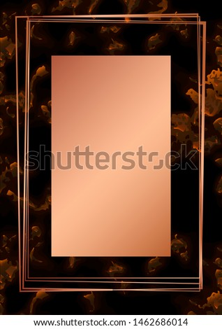 Rose gold rectangle card on marble background. Wedding invitation design. Geometric frame. Brochure, cover template. Vector #1462686014