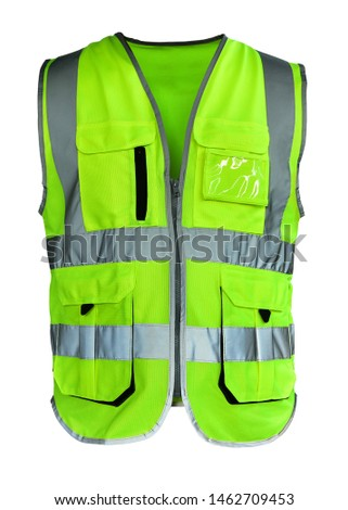 Safety Vest Reflective shirt beware, guard, mind, traffic shirt, safety shirt, rescue, police, security shirt protective jacket isolated on white background. This has clipping path. #1462709453