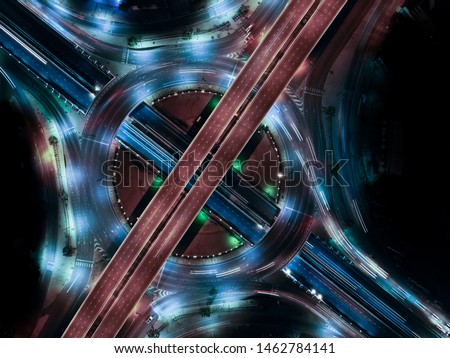 Modern transportation with Expressway, Road and Roundabout, multilevel junction highway-Top view. Important infrastructure. #1462784141