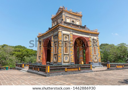 Vietnam, Hue - May 20, 2019: Tu Duc Tomb is considered as one of the most beautiful and picturesque and largest works of architecture of Nguyen Dynasty's royal palaces and tombs. #1462886930