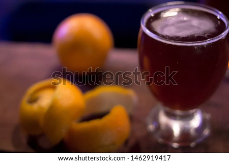 Beer with orange bar photography Pasto Picante