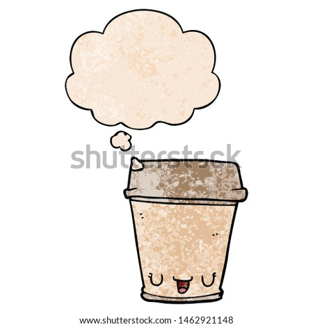 cartoon coffee cup with thought bubble in grunge texture style #1462921148