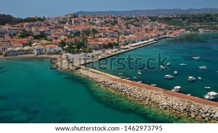 Aerial drone photo of famous picturesque village of Koroni, Peloponnese, Greece #1462973795