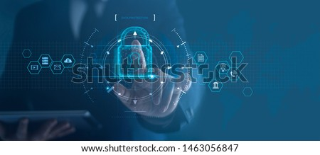 Cyber security network. Padlock icon and internet technology networking. Businessman protecting data personal information on tablet and virtual interface. Data protection privacy concept. GDPR. EU.  #1463056847