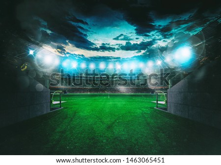Soccer stadium seen by the exit of the locker room tunnel #1463065451