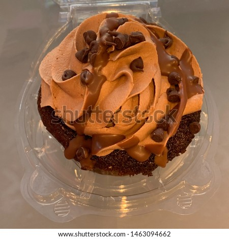 Chocolate cupcake with milk chocolate buttercream frosting and chocolate sprinkles.
