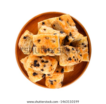 Chocolate chip stick In a wooden plate on white background #1463110199