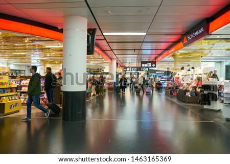 VIENNA, AUSTRIA - CIRCA MAY, 2019: Duty Free shopping area at Vienna International Airport. #1463165369