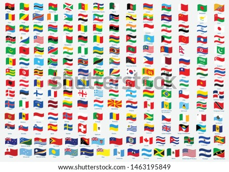 All national waving flags from all over the world with names - high quality vector flag isolated on white background #1463195849
