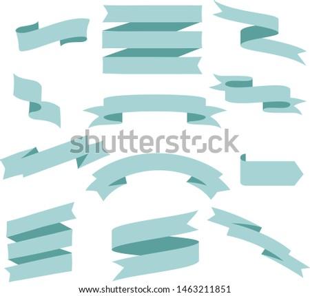 Pastel Blue Ribbon Set InIsolated White Background, Vector Illustration #1463211851