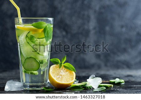 Summer detox water with lemon, mint, cucumber and Basil. Summer chilled lemonade #1463327018