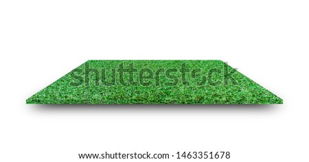Green grass field isolated on white background. with clipping path. For sport stadium background. #1463351678