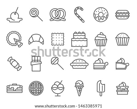Sweet dessert icons. Sweetly cake, sweets ice cream and muffin cakes. Desserts line art pancakes, celebration chocolate cookies or cheesecream tart bakery dessert. Isolated vector icon set #1463385971
